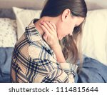 caucasian girl waking up with... | Shutterstock . vector #1114815644