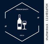 bottle of wine and wineglass... | Shutterstock .eps vector #1114816934