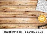 modern workspace with coffee... | Shutterstock . vector #1114819823