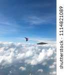 view from airplane  wing and... | Shutterstock . vector #1114821089