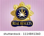 shiny badge with weed leaf... | Shutterstock .eps vector #1114841360