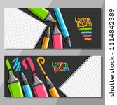 vector horizontal banners with... | Shutterstock .eps vector #1114842389