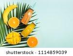 fresh orange  banana  pineapple ... | Shutterstock . vector #1114859039