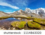 hiking scene in cordillera... | Shutterstock . vector #1114863320