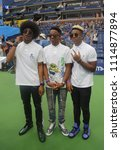 Small photo of NEW YORK - AUGUST 26, 2017: American pop rock band Saving Forever participates at Arthur Ashe Kids Day 2017 at Billie Jean King National Tennis Center