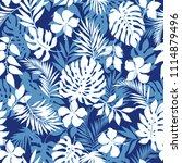 tropical seamless plants... | Shutterstock .eps vector #1114879496