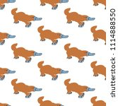 platypus seamless pattern on... | Shutterstock .eps vector #1114888550