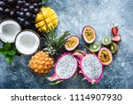 group of exotic tropical fruits.... | Shutterstock . vector #1114907930