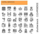 hotel services   thin line and... | Shutterstock .eps vector #1114908503