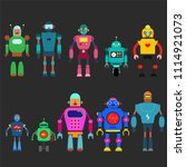 set of different cartoon robots ...   Shutterstock .eps vector #1114921073