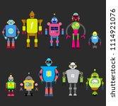 set of different cartoon robots ...   Shutterstock .eps vector #1114921076
