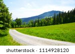 hiking trail in spring... | Shutterstock . vector #1114928120