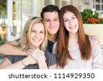 latin mother and her children.   Shutterstock . vector #1114929350