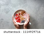 plate with a spoon and an... | Shutterstock . vector #1114929716