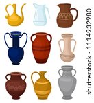 flat vector set of various jugs.... | Shutterstock .eps vector #1114932980
