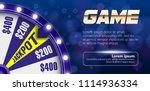 blue fortune wheel 3d object on ... | Shutterstock .eps vector #1114936334