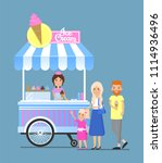 street ice cream cart with... | Shutterstock .eps vector #1114936496