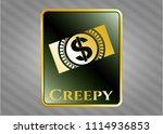 shiny badge wit gold emblem... | Shutterstock .eps vector #1114936853