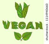 vegan. vector calligraphy... | Shutterstock .eps vector #1114940660