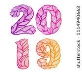 2019. vector calligraphy... | Shutterstock .eps vector #1114940663