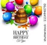 happy birthday greeting card....   Shutterstock .eps vector #1114940750
