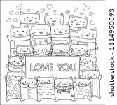 hand drawn cute cats with the... | Shutterstock .eps vector #1114950593