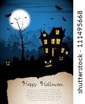 scary house   halloween poster... | Shutterstock .eps vector #111495668