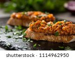 zacusca   romanian vegetable... | Shutterstock . vector #1114962950
