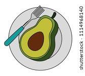 fresh avocado in dish... | Shutterstock .eps vector #1114968140