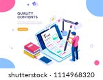 Stock vector seo infographic content for creative blog post blogger character can use for web banner 1114968320