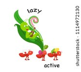 opposite lazy and active vector ... | Shutterstock .eps vector #1114972130