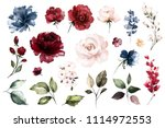 Stock photo set watercolor elements of roses collection garden red burgundy flowers leaves branches botanic 1114972553