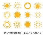 12 hand drawn suns on white... | Shutterstock .eps vector #1114972643