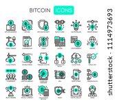bitcoin elements   thin line... | Shutterstock .eps vector #1114973693