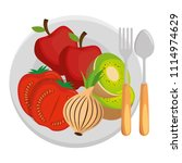 dish and cutlery with fruits... | Shutterstock .eps vector #1114974629