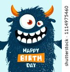 funny cartoon monster. happy... | Shutterstock .eps vector #1114975460