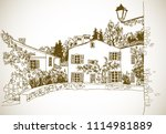 old town street in hand drawn... | Shutterstock .eps vector #1114981889