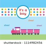baby boy arrival announcement... | Shutterstock .eps vector #1114982456