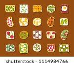 breakfast toast set slices...   Shutterstock .eps vector #1114984766