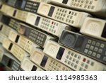different retro telephone... | Shutterstock . vector #1114985363