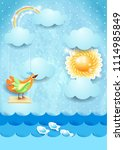 surreal seascape with sun ...   Shutterstock .eps vector #1114985849
