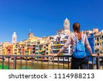 tourist woman see on colorful... | Shutterstock . vector #1114988213