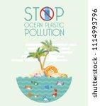 stop ocean plastic pollution... | Shutterstock .eps vector #1114993796
