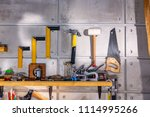 carpentry workshop equipped... | Shutterstock . vector #1114995266
