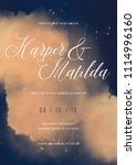 wedding invitation card. blue...   Shutterstock .eps vector #1114996160