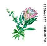 bouquet of watercolor green... | Shutterstock . vector #1114998398