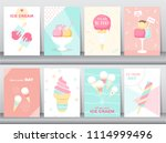 set of happy national ice cream ... | Shutterstock .eps vector #1114999496