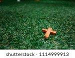 wooden christian cross...   Shutterstock . vector #1114999913