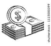 bills dollars with coins money | Shutterstock .eps vector #1115000399