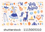 big set of mexico elements ... | Shutterstock . vector #1115005310